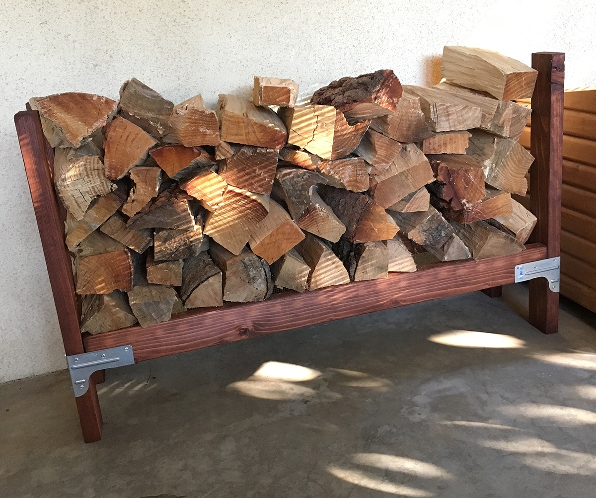 Simpson strong tie firewood rack idea - stained