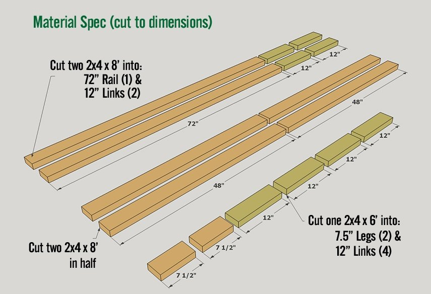 DIY firewood rack plan under 30 dollars - Lumber cutting diagram