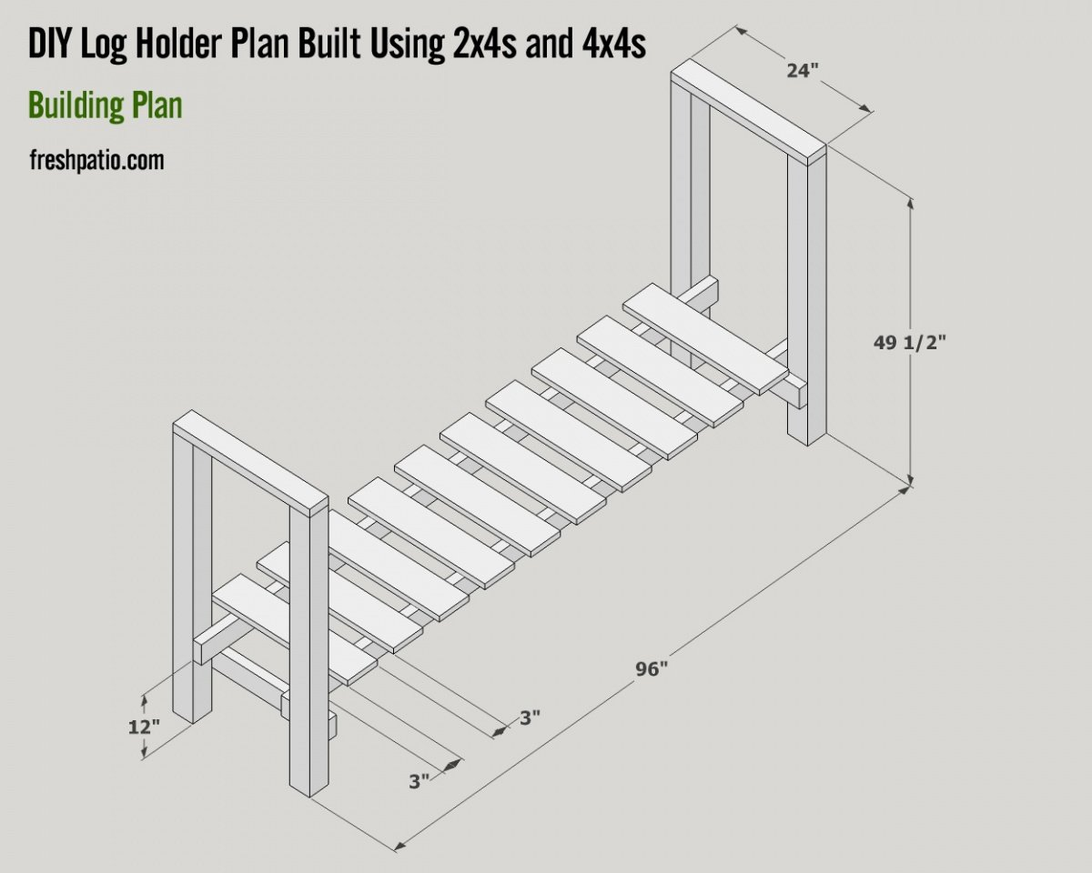 Free Log Holder Plan Built with 2×4s & 4×4s