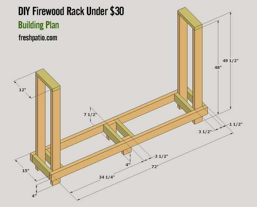 Free DIY firewood rack plan under 30 dollars