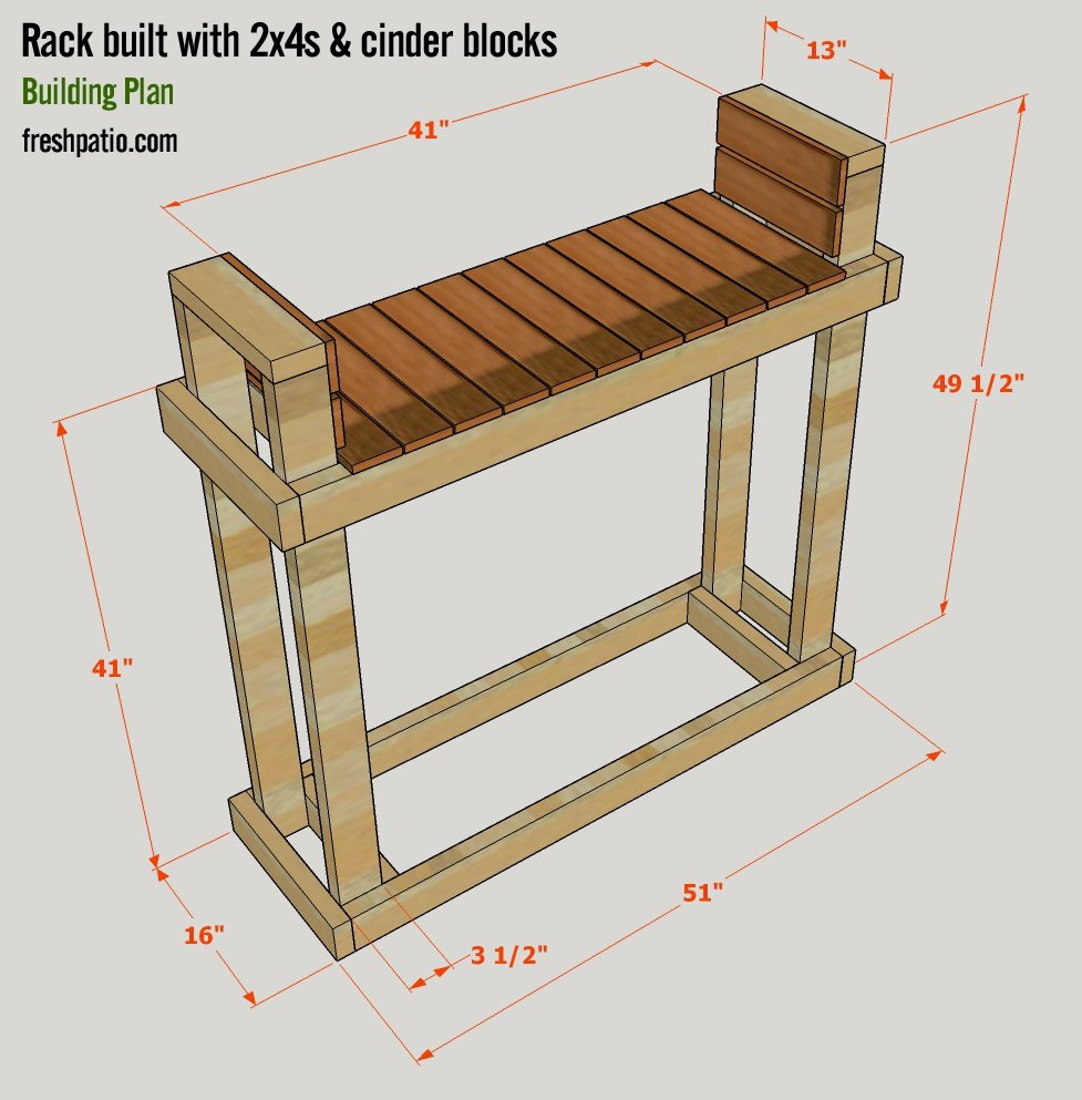 Free Firewood Rack Plan for Half Rick of Wood Built on Cinder Blocks