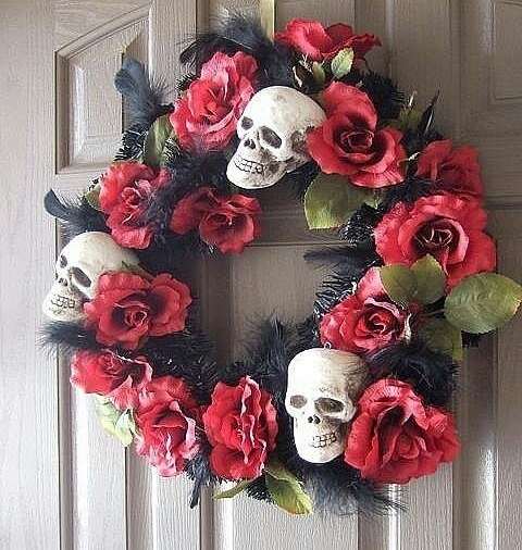 Gothic Christmas Wreath Design with Skulls and Red Roses