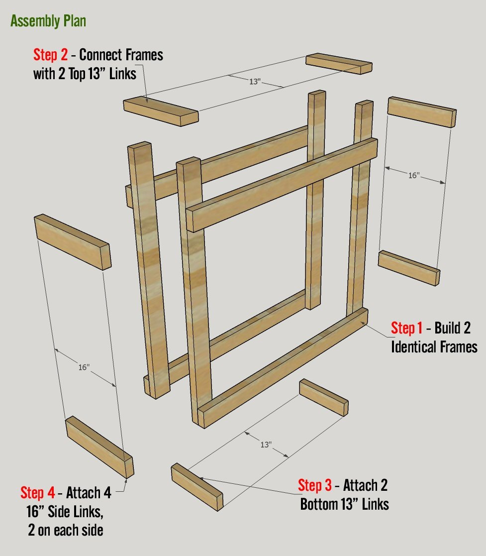 Firewood Rack Plan for Half Rick with Top Shelf - Assembly Diagram