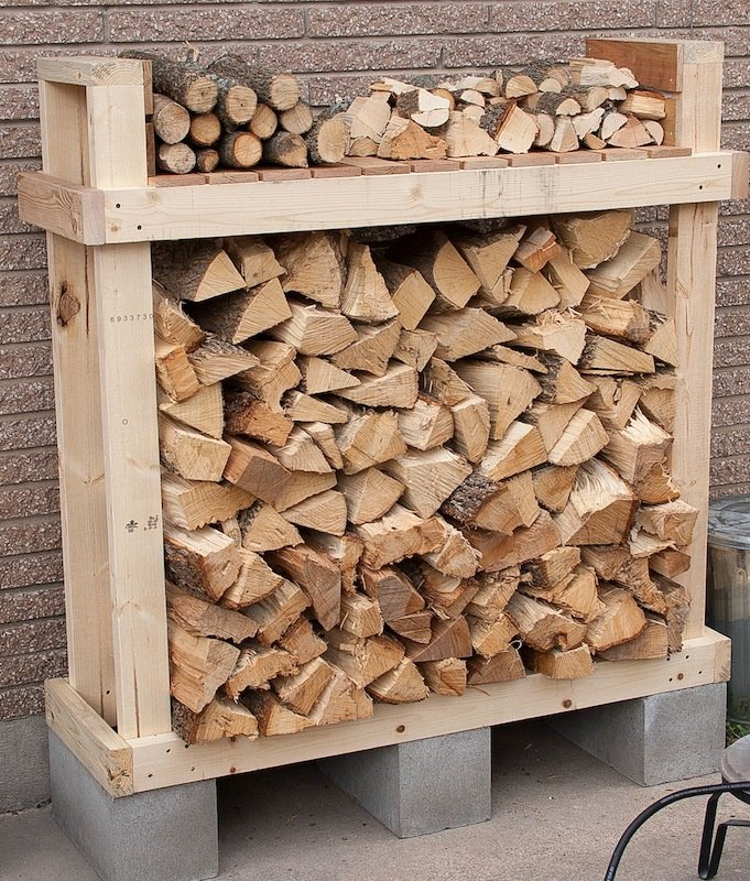 Firewood Rack Plan for Half Rick of Wood with Top Shelf Built on Cinder Blocks