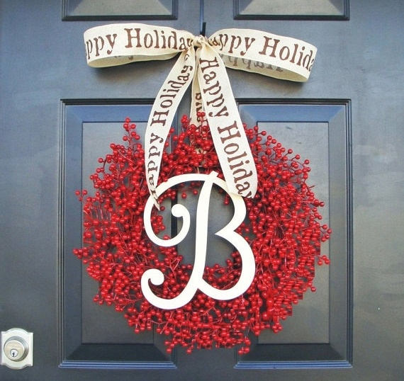 Monogram Faux Red Berry Happy Holiday Wreath