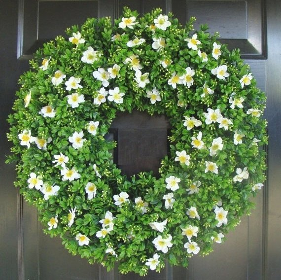 Outdoor artificial Boxwood wreath with white blossoms