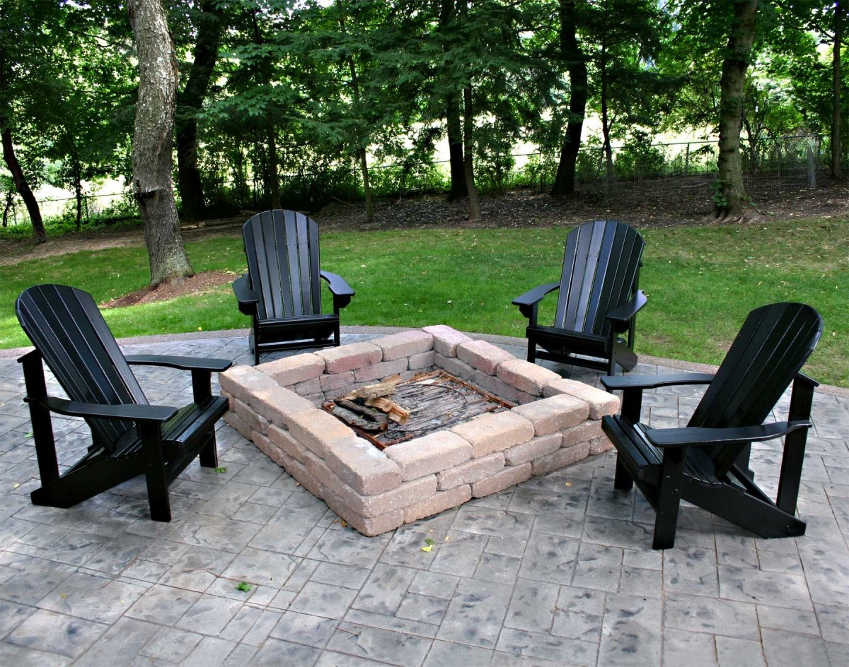 Unusual Black Color Adirondack Chairs Around Fire Pit