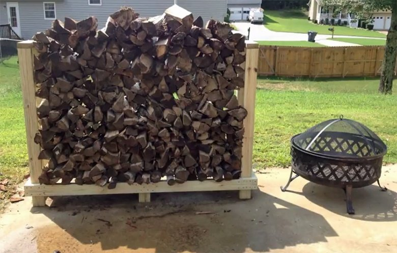 Patio firewood rack plan under 30 dollars