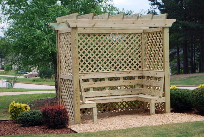 Large 3-Bench Pergola Arbor Design with Trellises
