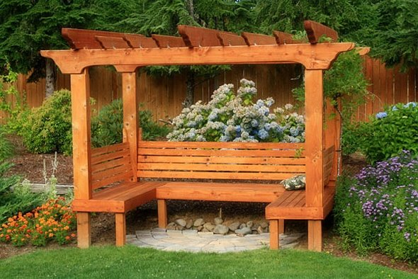 Large 3-Bench Pergola Arbor Design with Open Sides