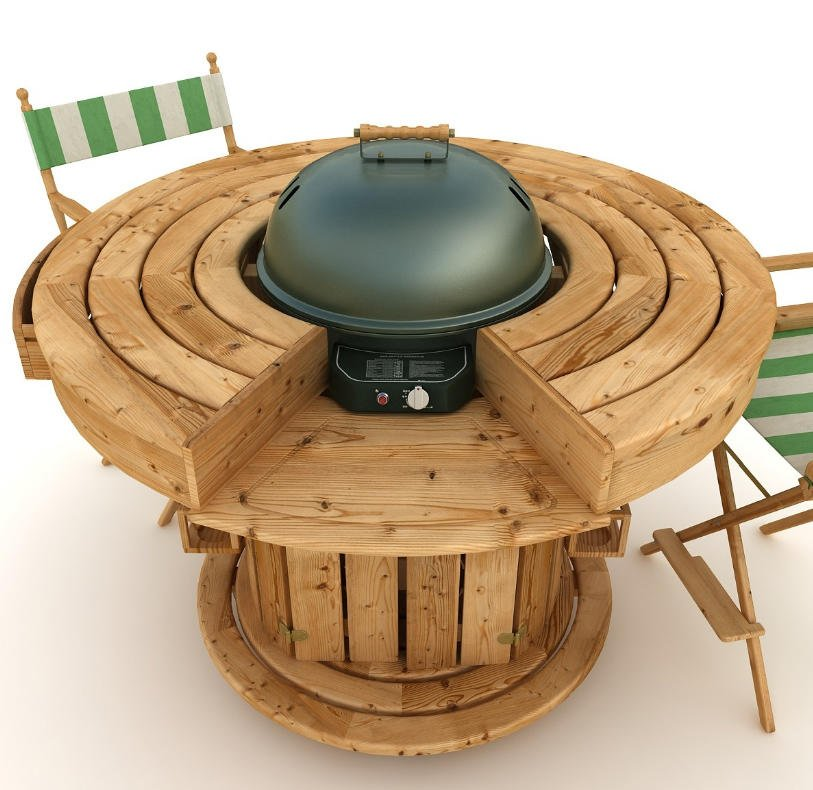 Backyard round wooden barbecue bar table