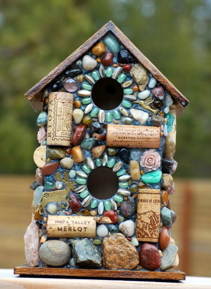 Mosaic BirdHouse includes wine corks