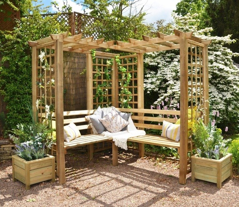 Corner Garden 4-Seater Arbor with Pergola Roof