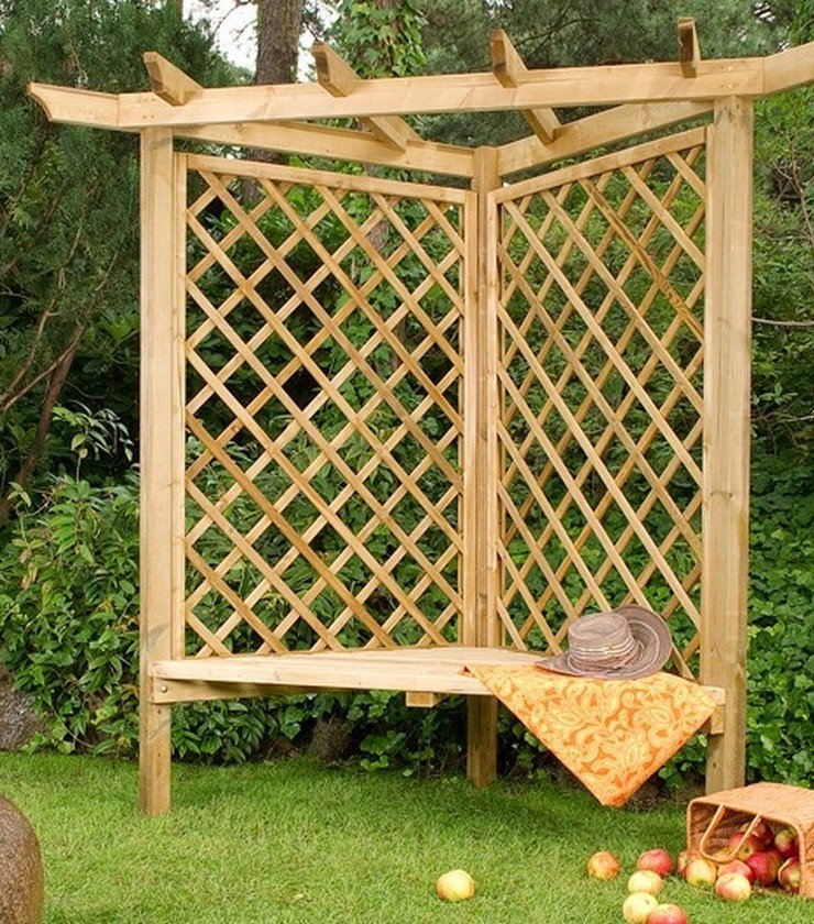 Small Corner Pergola Arbor Bench with Trellis Panels