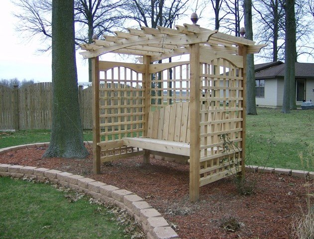 Custom Garden Bench Design with Pergola Top