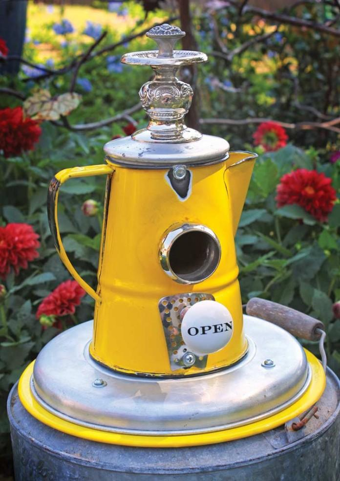 Funky Yellow Coffee Pot Birdhouse