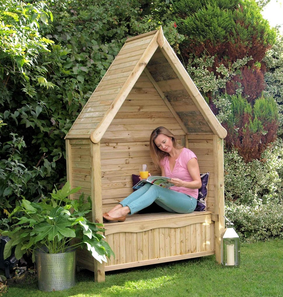 Enclosed Wooden Garden Arbor Seat with Steep Roof