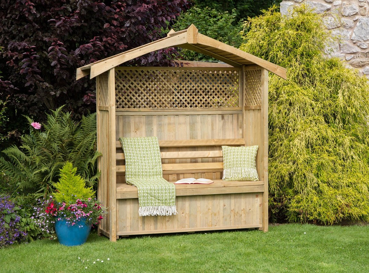 Garden Arbor Bench idea with partial lattice and storage box