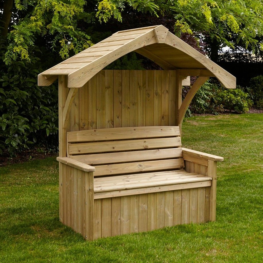 Gable roof garden arbor seat design with open sides