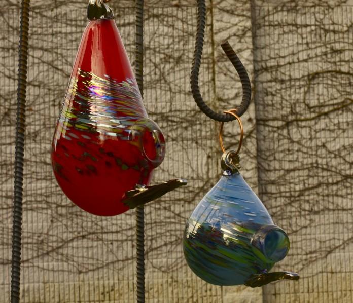 Art Glass Birdhouse Pair
