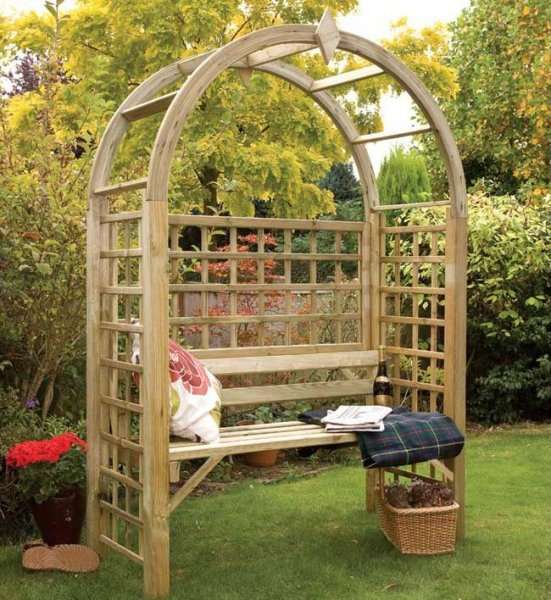 Classic Style Arbor with a Bench Seat and Arched Roof