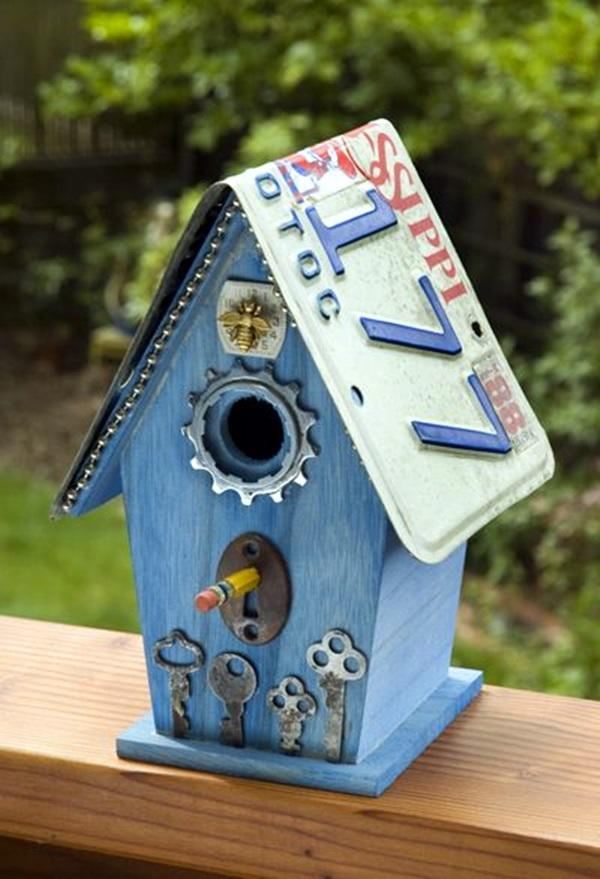 License Plate Blue Birdhouse
