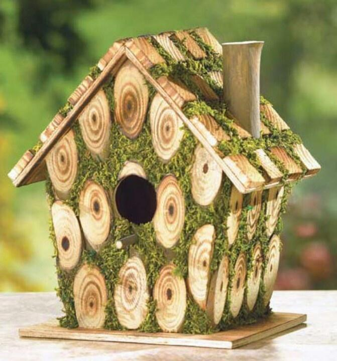 Log and Moss Birdhouse