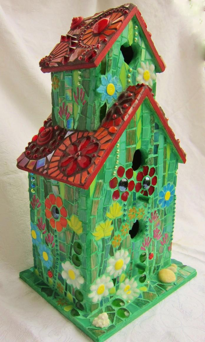 Mosaic two-storey birdhouse in red green