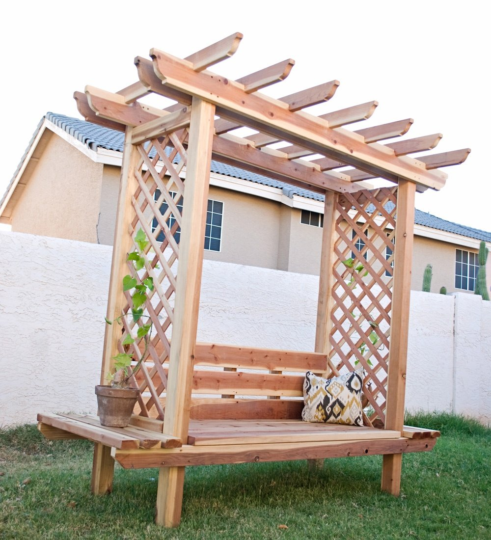 Outdoor Pergola Arbor Bench with Lattice Sides