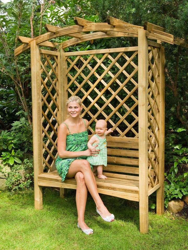 Arbor Bench with Curved Pergola Top and Diagonal Trellis Panels