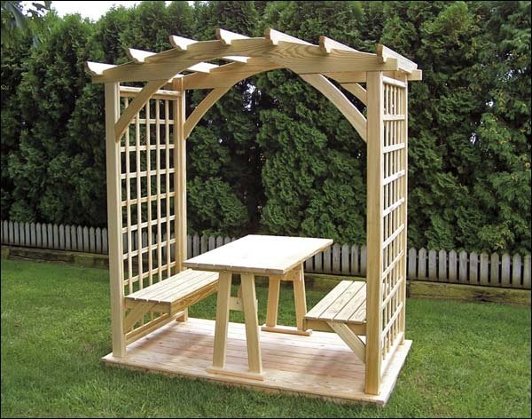 Picnic Pergola Arbor with Table and Two Benches