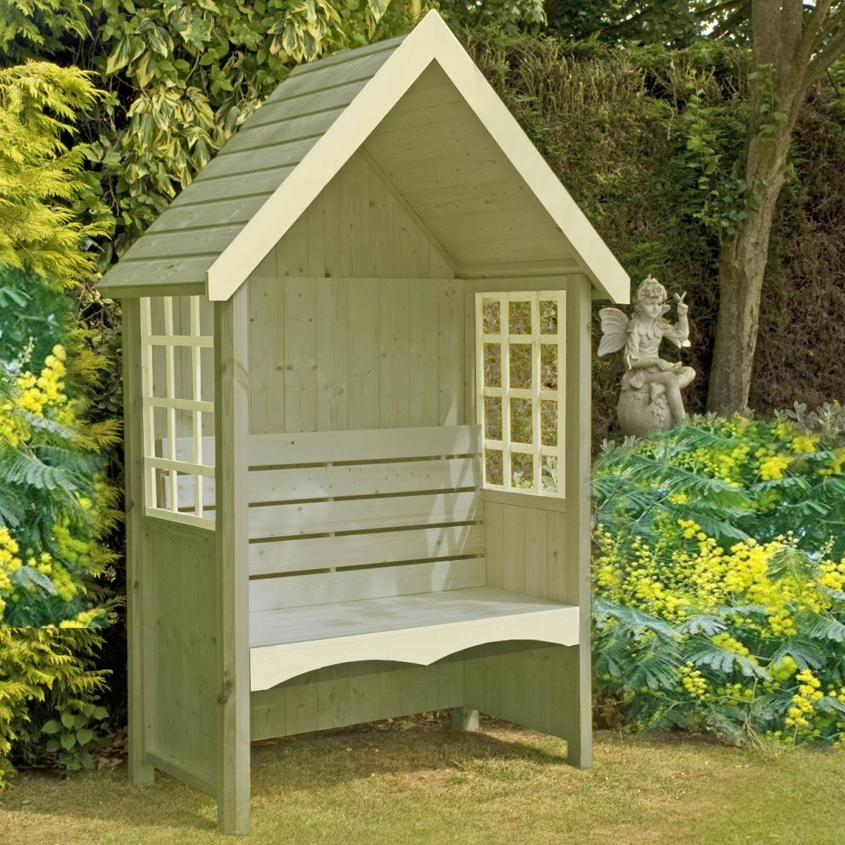 Attrayant Pinnacle Mimosa Bench Arbor With Rectangular Windows