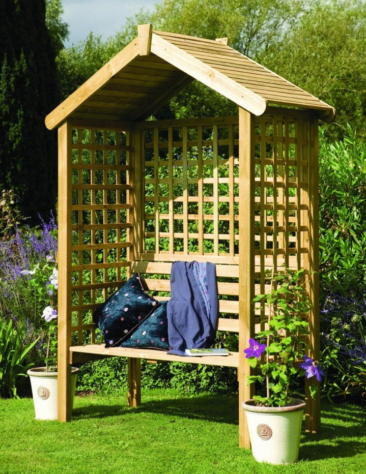 2 seater Square Lattice Wooden Garden Arbor