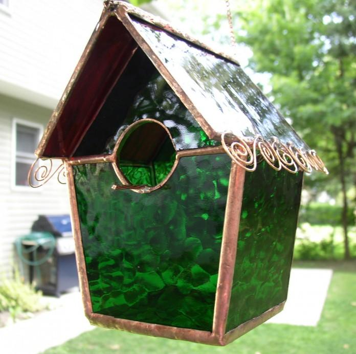 Green Stained Glass Birdhouse