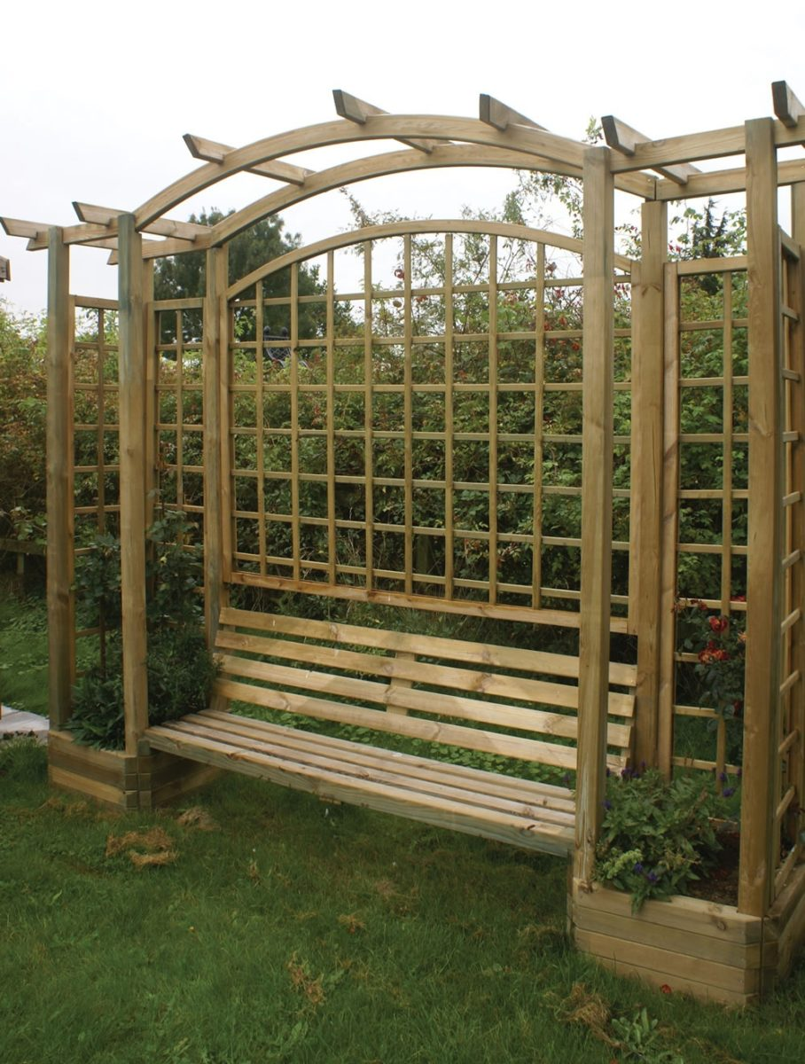 Trellis Arbor Bench with Planters and Pergola Top