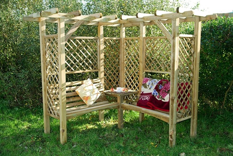 Pergola Arbor Idea with Two Benches and a Table