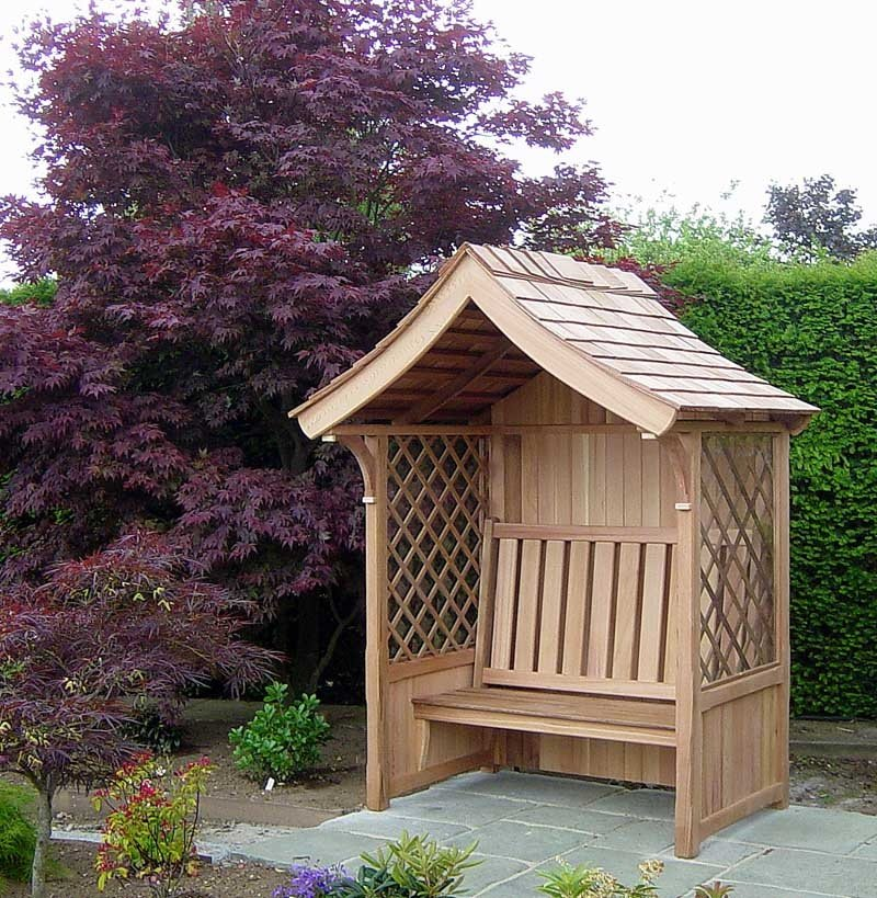 Victorian Covered Garden Seat in Western Red Cedar
