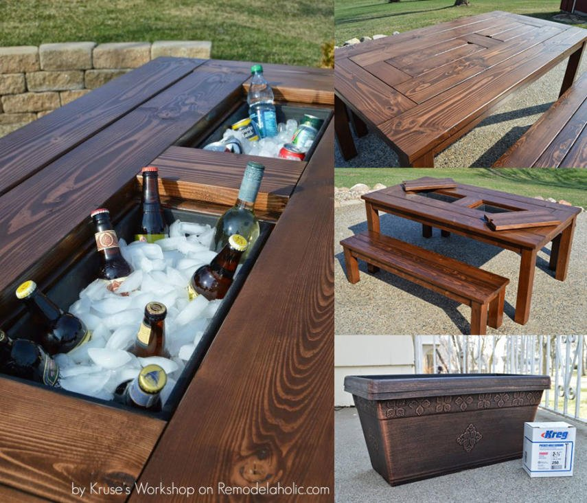 Patio table with two coolers
