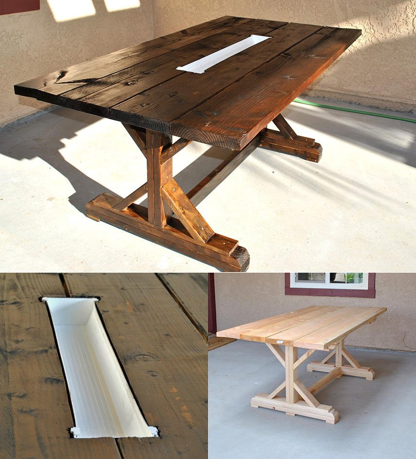 DIY Farm Table with Rain Gutter as Wine Cooler
