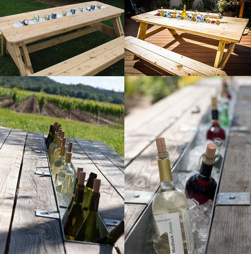 13 diy cooler table plans to build for outdoor beer drinks or patio how to build a cooler table from a picnic table almost for free watchthetrailerfo