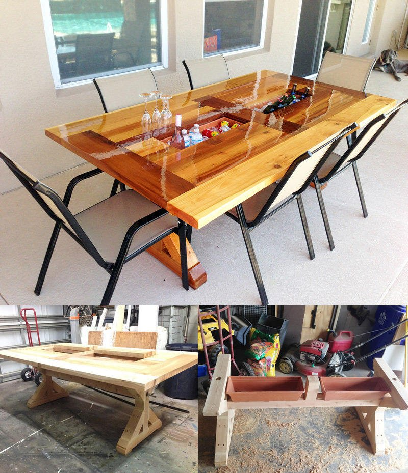 Luxury Outdoor Cooler Table Idea
