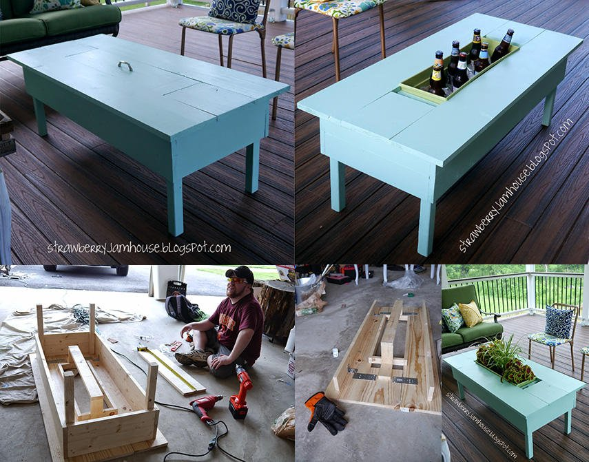 Porch Coffee Table with Beer Cooler Box