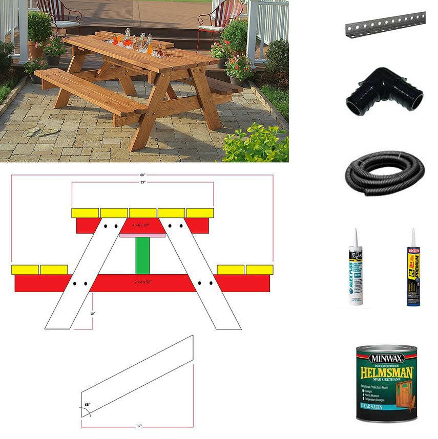 13 diy cooler table plans to build for outdoor beer drinks or patio free plan for a picnic table with built in cooler by home depot watchthetrailerfo
