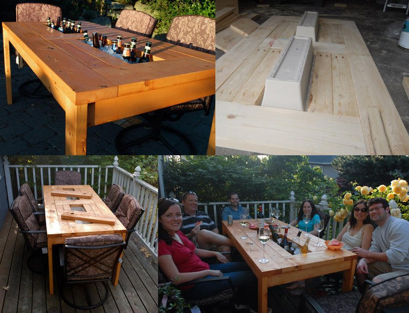 DIY Patio Table with Two Built-in Beer Coolers