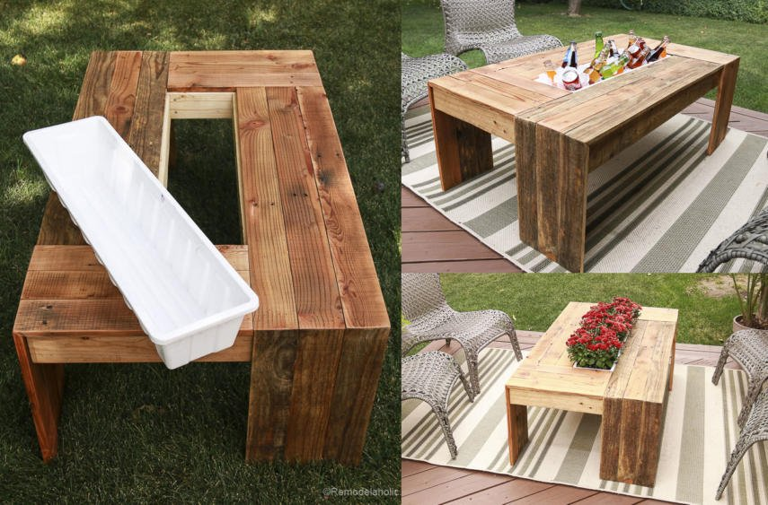 Rustic Pallet Coffee Table With Drink Cooler