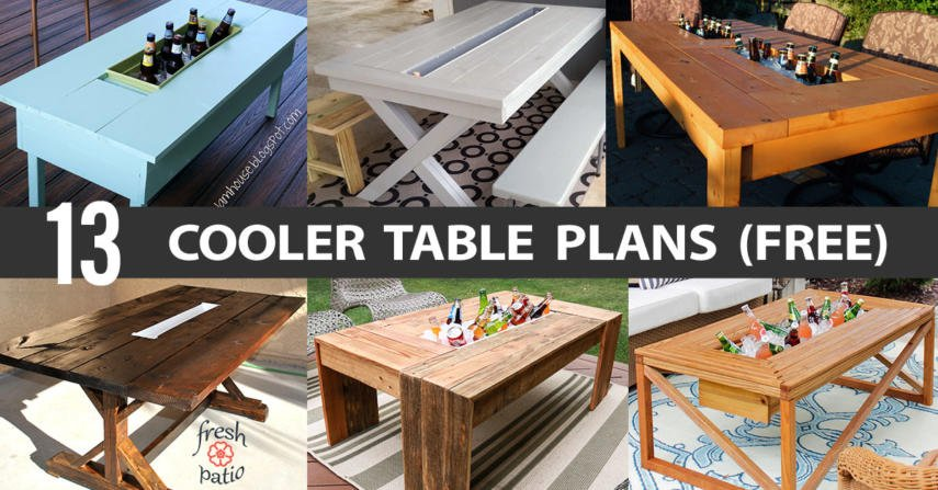 13 Diy Cooler Table Plans To Build For Outdoor Beer Drinks Or Patio Picnic Free