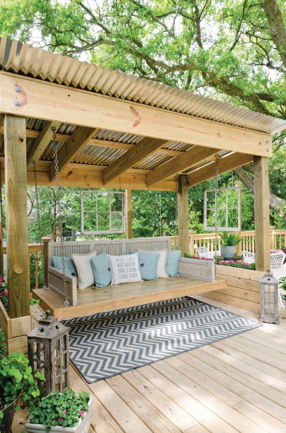 Permanent pergola roofing made from corrugated steel (image above). - Covered Pergola Designs For Best Shade Ideas (Consumer Guide)