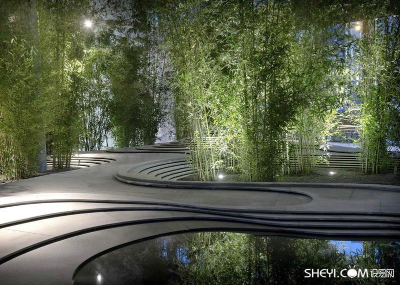 Bamboo, Cement And Water Zen Garden