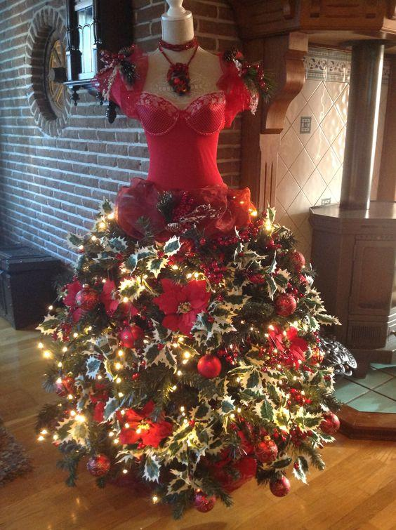 Mannequin Christmas tree in red dress