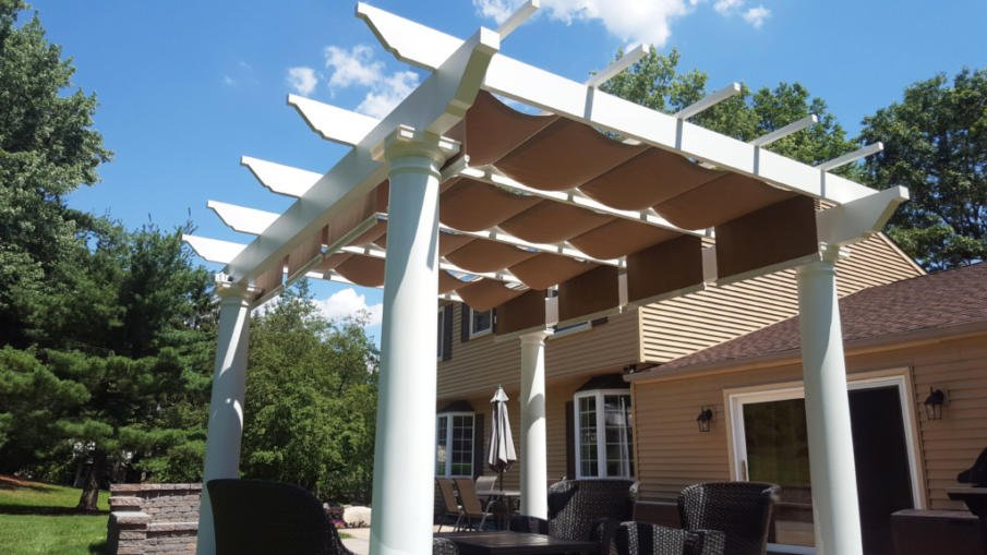 Trex covered pergola with Shade-Tree canopy - Covered Pergola Designs For Best Shade Ideas (Consumer Guide)